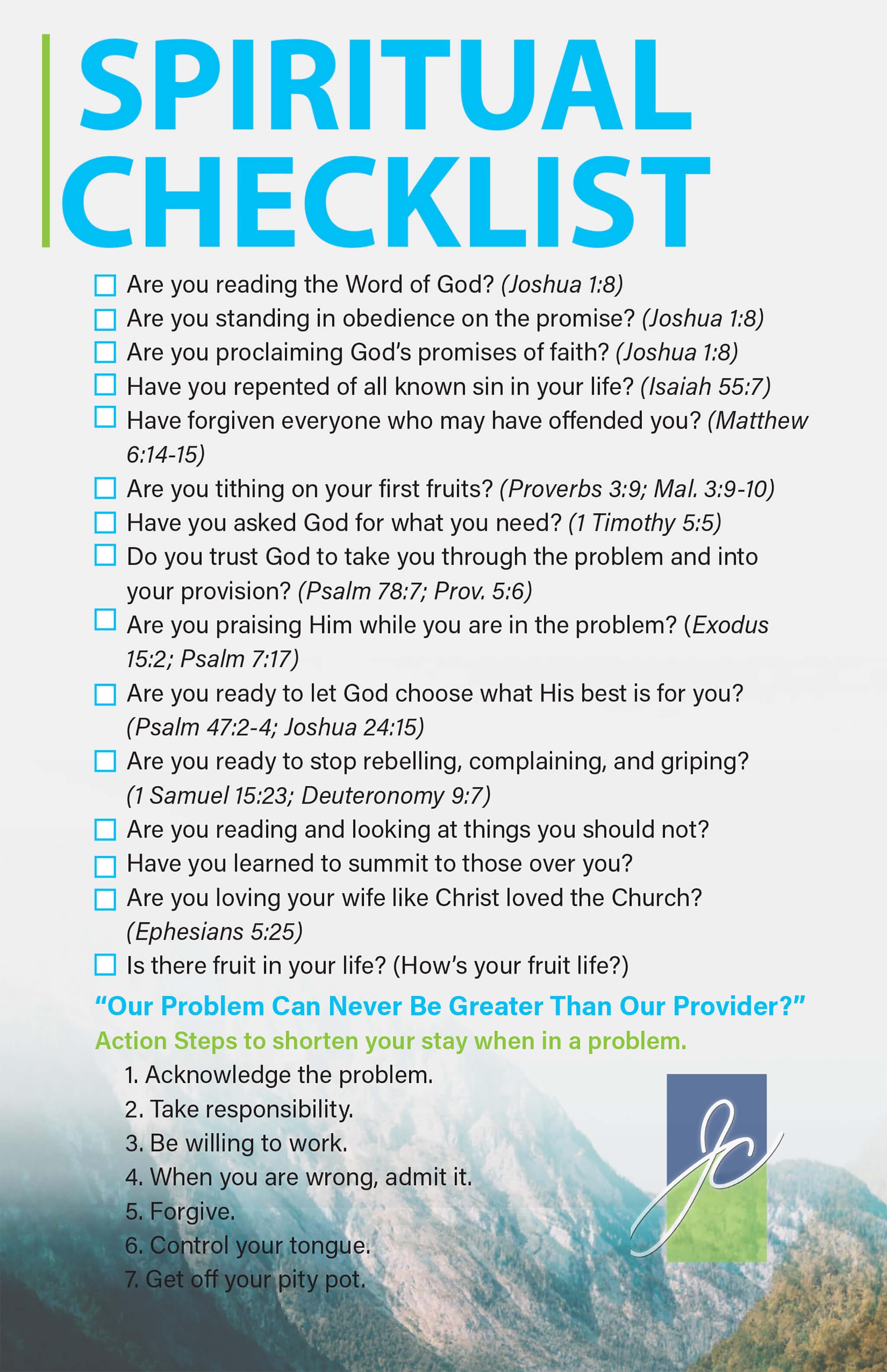 Spiritual Checklist   Journey Church